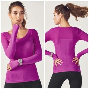 Fabletics Seamless Delta Long Sleeve Top In Orchid